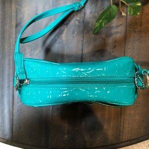 Coach Bags - Coach Embossed Logo Patent Crossbody Bag Teal